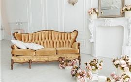 Sala de visitas, sofá, rosas cor-de-rosa, estilo branco