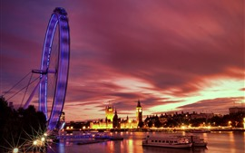London, ferris wheel, river, boats, night, lights, UK