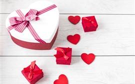 Aperçu fond d'écran Coeur d'amour, boîte, cadeau, planche en bois