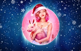 Preview wallpaper Lovely pink hair girl and pig, Christmas, snowflakes