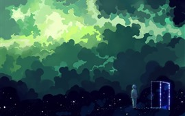 Preview wallpaper Magic space, clouds, stars, boy, door, art picture