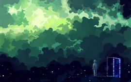 Espaço mágico, nuvens, estrelas, menino, porta, retrato da arte