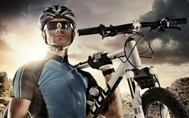 Preview wallpaper Man, glasses, bike, sport