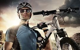 男人,眼镜,自行车,运动