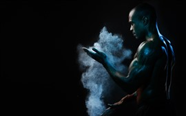 Preview wallpaper Man, muscle, smoke, black background
