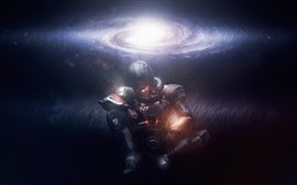 Preview wallpaper Mass Effect, warrior, galaxy, stars