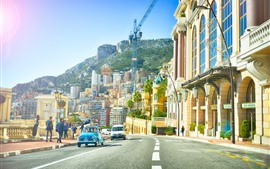 Preview wallpaper Monaco, European, city, street, buildings, road, people