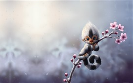 Preview wallpaper Monkey, flowers, art picture