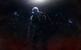 Preview wallpaper Monster, rain, night, Mass Effect