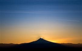 Mountain, sunset, sky, glow