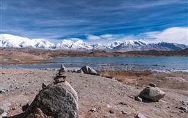 Montanhas, lago, neve, pedras, paisagem natural