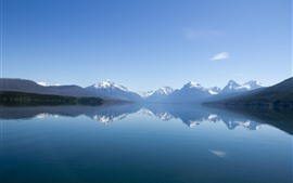 Preview wallpaper Mountains, lake, water reflection, fog, nature landscape