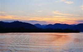 Montanhas, rio, pôr do sol, céu, crepúsculo
