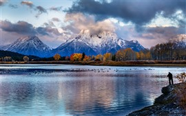 Mountains, trees, lake, clouds, autumn