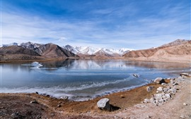 Muztag Ata, lake, snow, rocks, sky, China