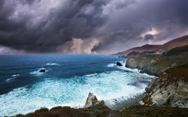 Preview wallpaper Nature landscape, sea, thick clouds, coast