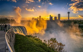 Niagara Falls, morning, fog, waterfall, city, USA