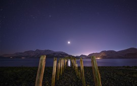 Preview wallpaper Night, bay, lake, mountains, stump, starry, moon