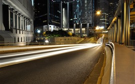 Night, road, light lines, city, buildings