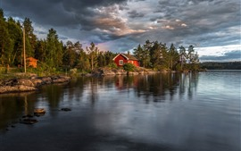 Preview wallpaper Norway, lake, trees, house