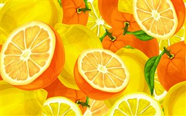 Preview wallpaper Oranges and lemons, vector art picture