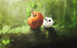Preview wallpaper Owl, apple, green, nature, art picture