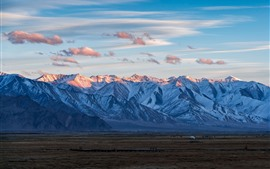 Pamirs, mountains, sky, clouds