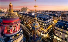 Paris, cidade, rua, casas, Crepúsculo, luzes, France