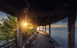 Park, raios de sol, lago, corredor, China