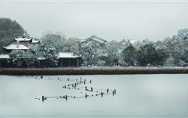 Pinghu Qiuyue, casas, árboles, nieve, invierno, West Lake, Hangzhou, China