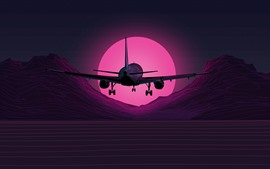 Plane flight, mountains, sunset, art picture