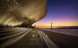 Portugal, Lisbon, buildings, stairs, river, bridge, dusk
