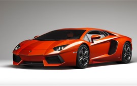 Preview wallpaper Red Lamborghini supercar, gray background