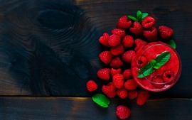 Preview wallpaper Red raspberry, smoothies, fruit