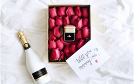 Red roses, box, ring, wine, romantic