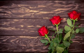 Preview wallpaper Red roses, wood board background