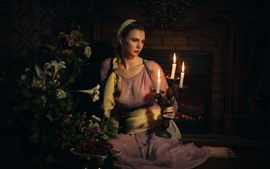 Preview wallpaper Retro style girl, candles, flame, lily flowers, fireplace, dark