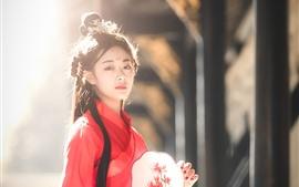 Menina retro do estilo, saia vermelha, ventilador, luz do sol