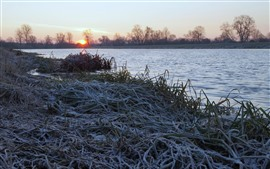 River, grass, frost, sunrise, morning