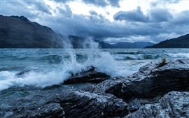 Preview wallpaper River, water, splash, rocks, shore, mountains, clouds