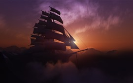 Preview wallpaper Sailboat, mountains, sunset, clouds, fog, dusk, creative design