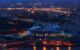 Preview wallpaper Saint Petersburg, stadium, night, city, Russia
