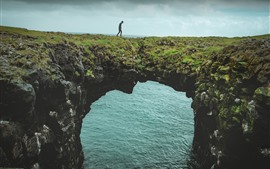 Preview wallpaper Sea, arch, nature bridge, man