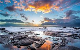 Sea, clouds, waves, dusk, nature landscape
