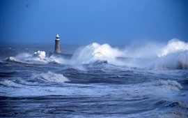 Preview wallpaper Sea, storm, waves, lighthouse