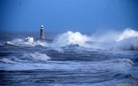 Море, шторм, волны, Маяк