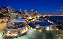 Seattle, ciudad de la noche, muelle, barcos, luces, Estados Unidos