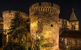 세르비아, 베오그라드 요새, 밤, 조명