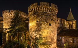 Aperçu fond d'écran Serbie, forteresse de Belgrade, nuit, lumières