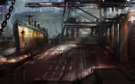 Корабль, стыковка, картина искусства